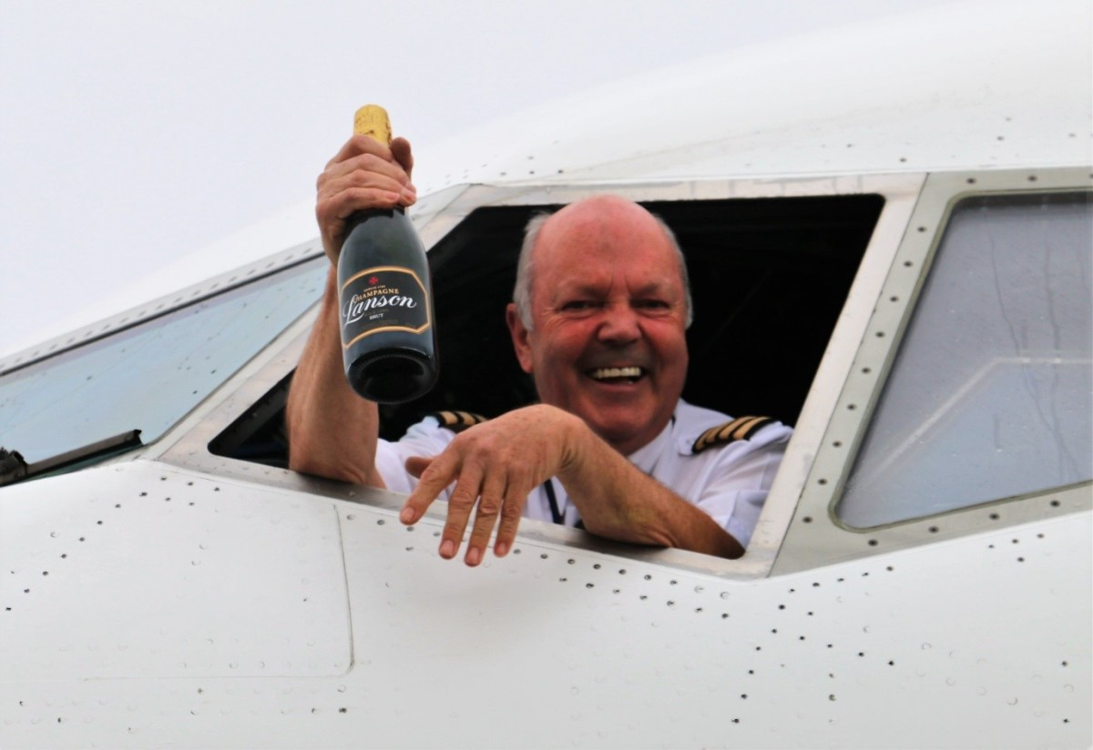Ken Rolph goes out with a splash at Glasgow Prestwick Airport