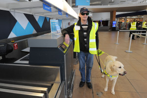 Prestwick Airport Disability Access Day. Gilbert Neil with his guide dog Harry.