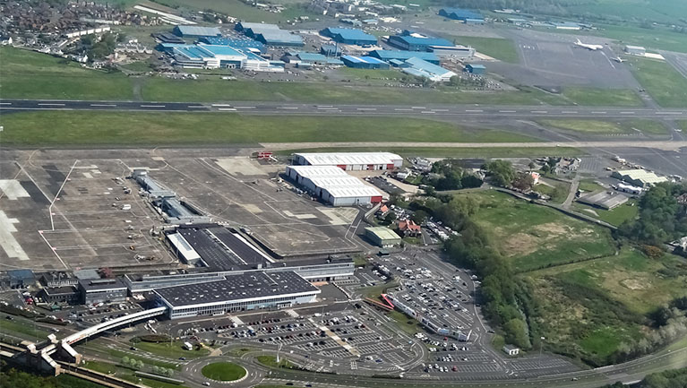 Glasgow Prestwick Airport aerial shot