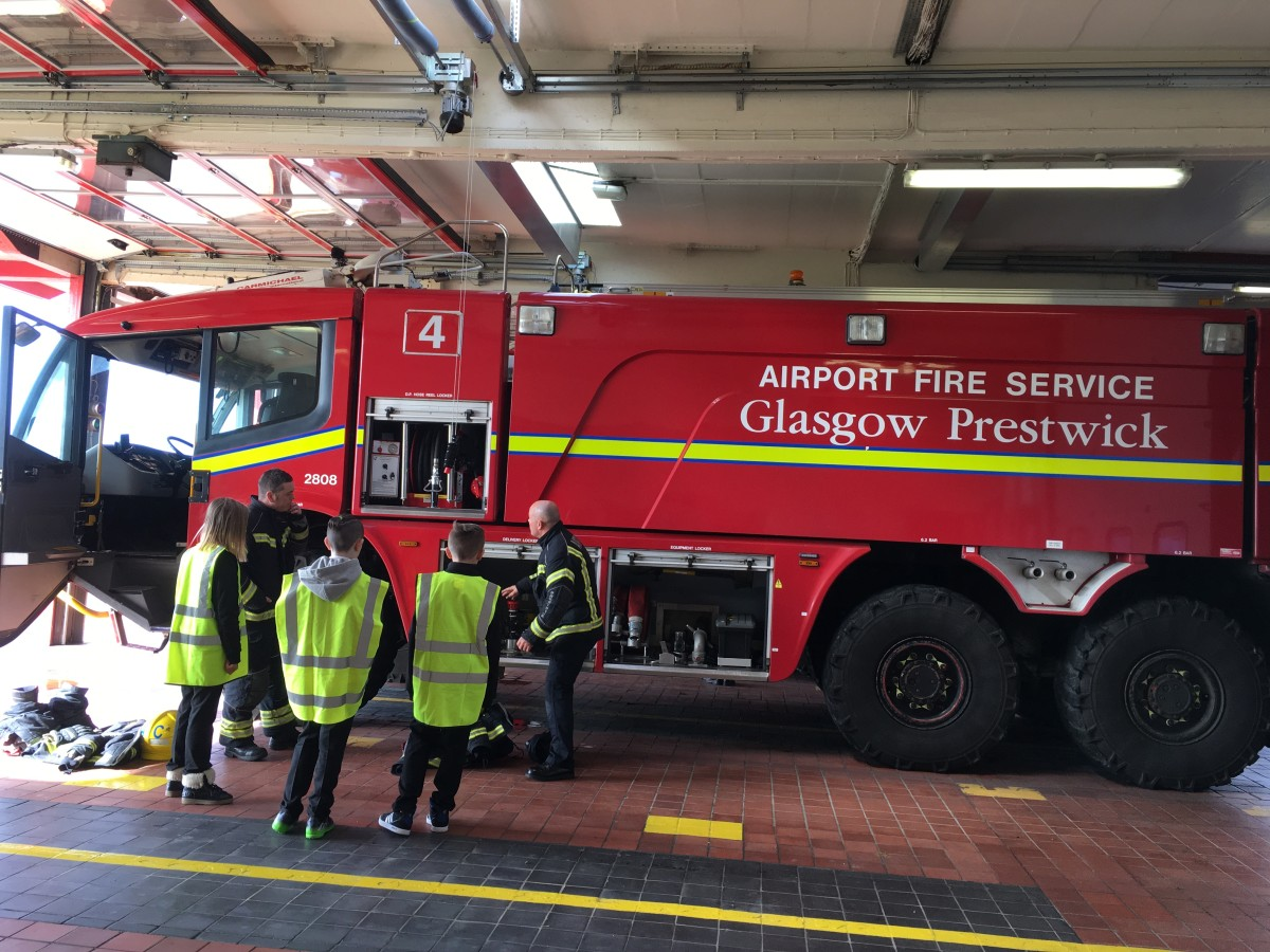 Glasgow Prestwick Airport welcomes three pupils for an airport tour after Space Week competition win.