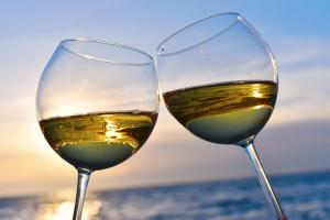 wine glasses in the sun
